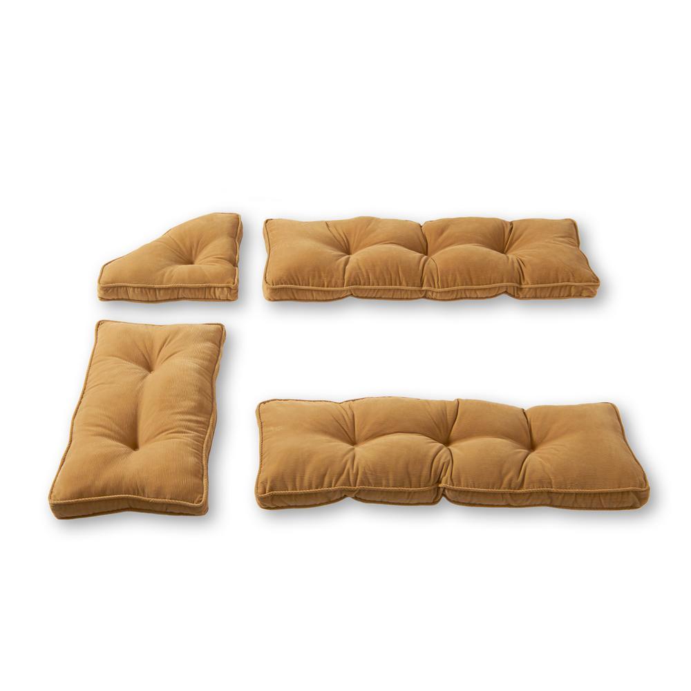Cherokee Khaki Microfiber 4-Piece Kitchen Nook Cushion Set