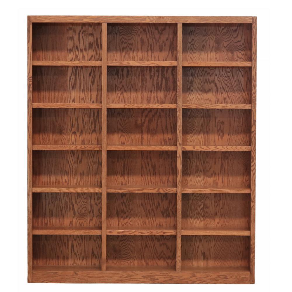 84 in. Dry Oak Wood 18-shelf Standard Bookcase with Adjustable Shelves