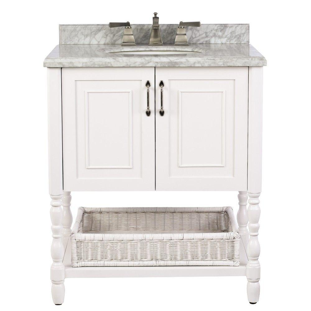 Home Decorators Collection Karlie 30 in. W x 22 in. D Bath Vanity in White with Natural Marble Vanity Top in White