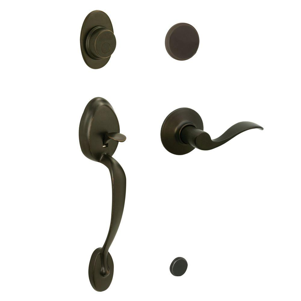 Schlage Plymouth In-Active Oil Rubbed Bronze Handleset with Left-Hand Accent Lever