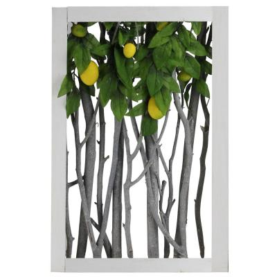 18.5 in. White Birch Branch Lemon Tree Rustic Wooden Frame Decoration