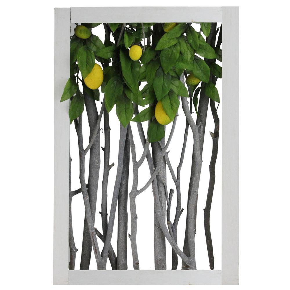 Northlight 18.5 in. White Birch Branch Lemon Tree Rustic Wooden Frame