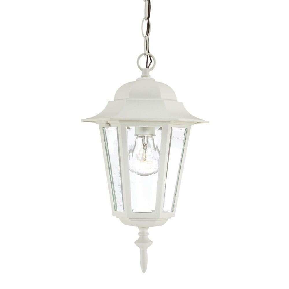 Camelot Collection 1 Light Textured White Outdoor Hanging Mount Lantern