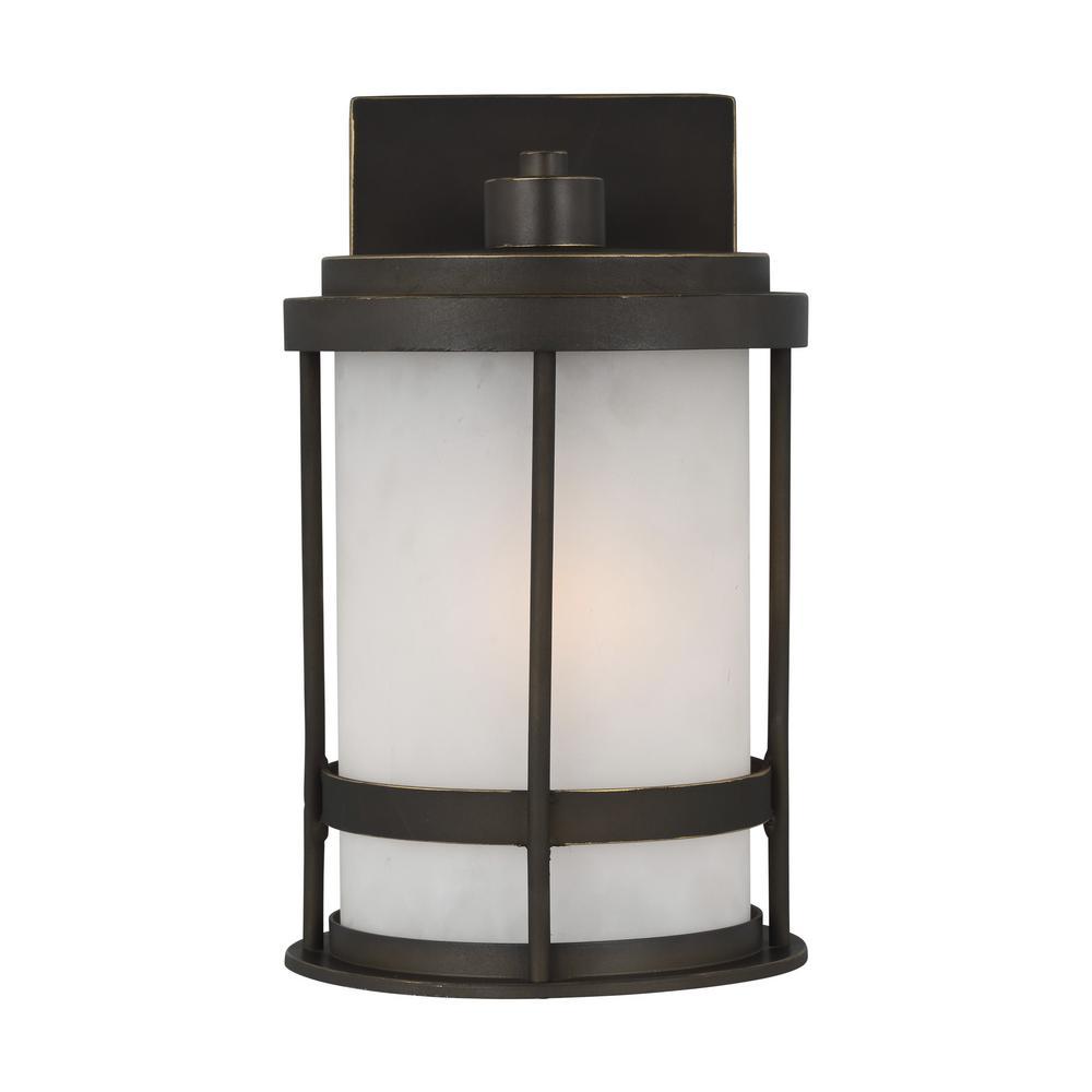 Hampton Bay Home Decorators Raisfeild Medium Exterior Wall Mount LED Lantern BK