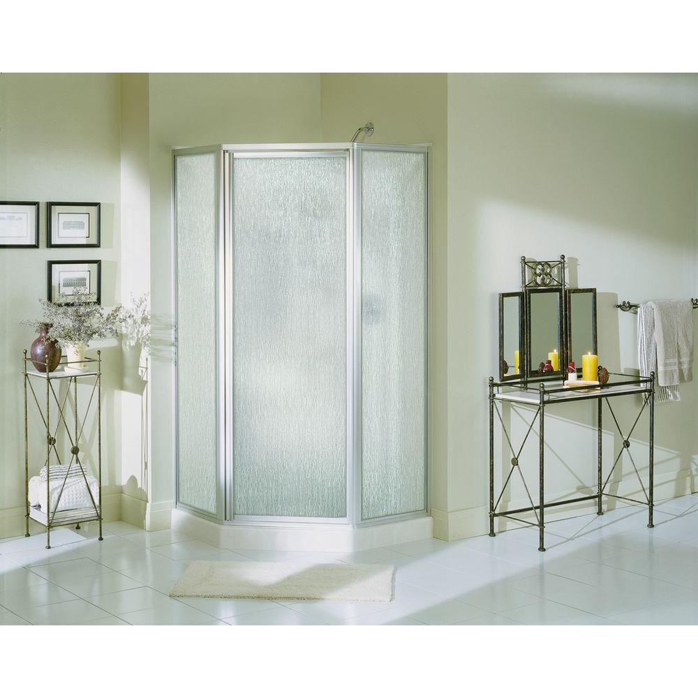 Economy 38 in. x 38 in. x 72 in. Corner Shower Kit with Shower Door in White/Silver
