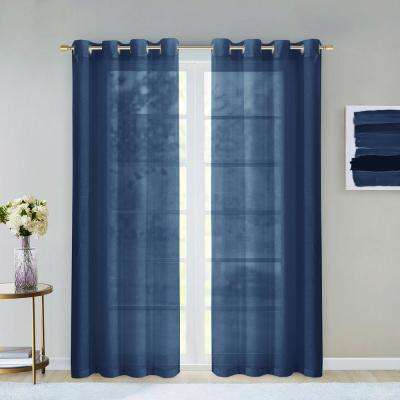 Malibu 55 in. W x 84 in. L Extra Wide Semi-Sheer Window Panel Pair in River Blue (2-Pack)