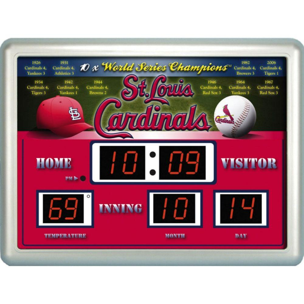 null St. Louis Cardinals 14 in. x 19 in. Scoreboard Clock with Temperature