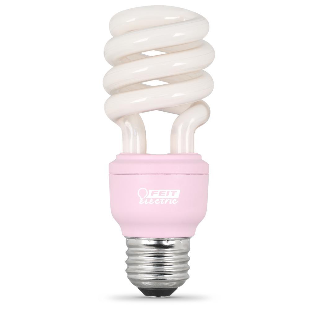 feit electric 60 watt equivalent pink spiral cfl light bulb bpesl13t
