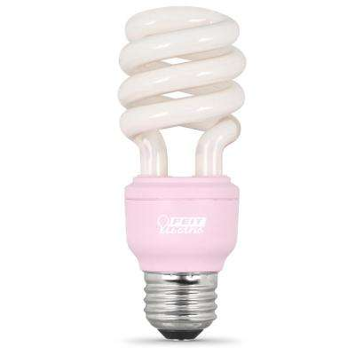 60W Equivalent Spiral CFL Light Bulb, Pink (12-Pack)