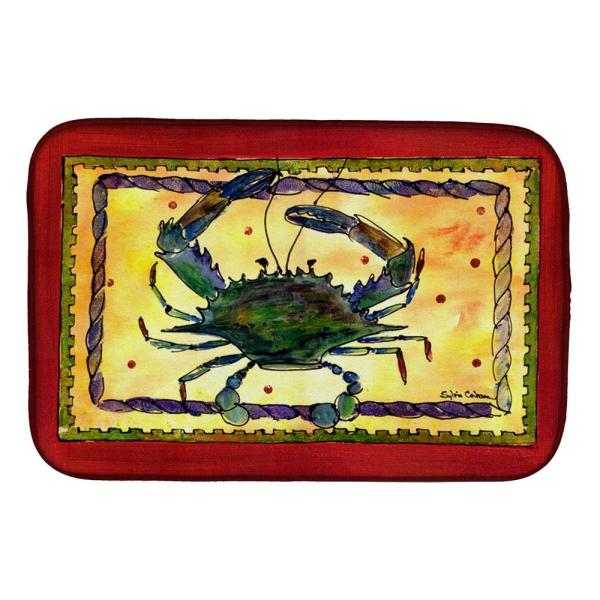 Caroline S Treasures 14 In X 21 In Multi Color Crab Dish Drying Mat 8058ddm The Home Depot