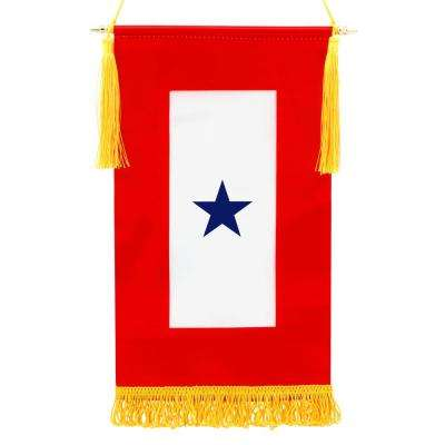 1.25 ft. x 2/3 ft. Fringed Flag w/ 2/3 ft. Wooden Flagpole and Golden Hanging Cord w/ Tassels - Military Service Banner