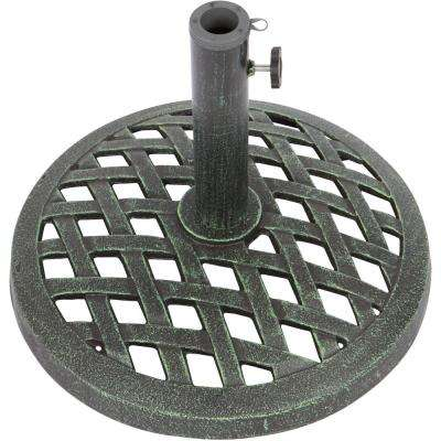 17.7 in. Dia Cast Iron Patio Umbrella Base in Green