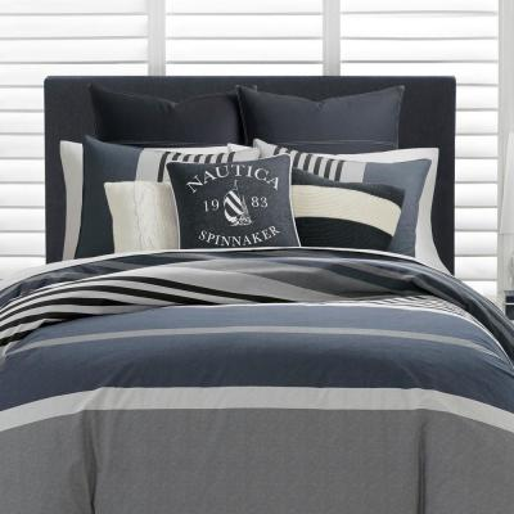 Rendon Charcoal Striped Duvet Cover Set