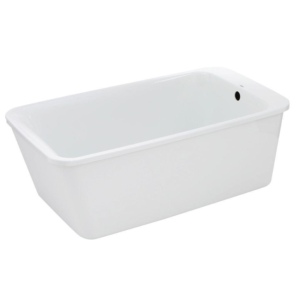 MAAX Lounge 5.3 ft. Fiberglass Flatbottom Reversible Drain Non-Whirlpool Bathtub in White