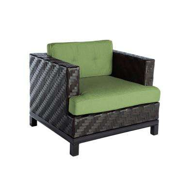 Rachel 1-Piece Wicker Patio Seating Set with Spectrum-Cilantro Cushions