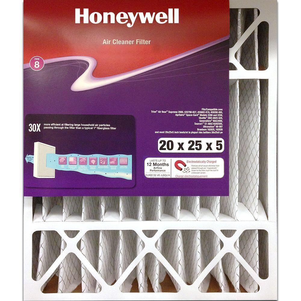 Honeywell 20 in. x 25 in. x 5 in. Cleaner Pleated FPR 8 Air Filter ...