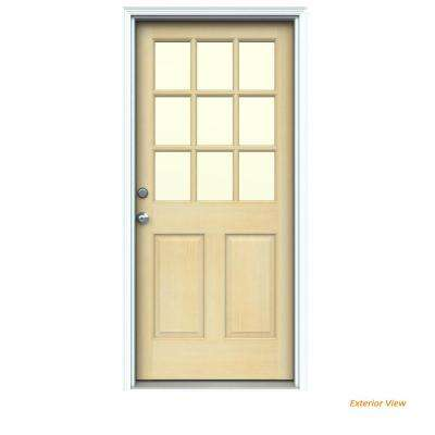 32 in. x 80 in. 9 Lite Unfinished Wood Prehung Right-Hand Inswing Front Door w/Primed Rot Resistant Jamb and Brickmould