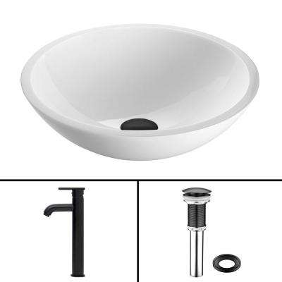 Glass Vessel Sink in Flat Edged White Phoenix Stone and Seville Faucet Set in Matte Black