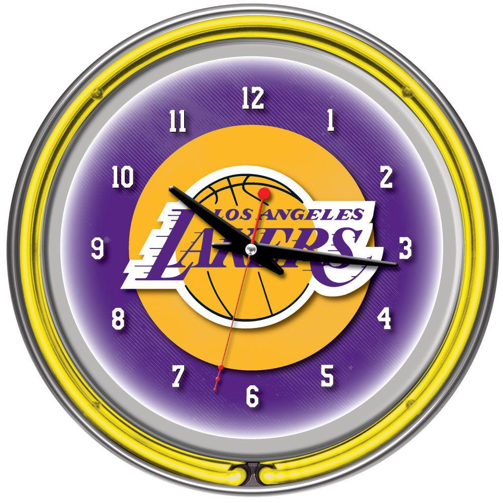 Trademark Global 14 in. Los Angeles Lakers NBA Chrome Double Ring Neon Wall Clock