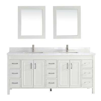 Dawlish 75 in. W x 22 in. D Vanity in White with Engineered Vanity Top in White with White Basin and Mirror