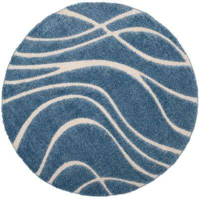 Florida Shag Light Blue/Cream 6 ft. 7 in. x 6 ft. 7 in. Round Area Rug