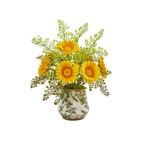 Nearly Natural 16 in. Gerber Daisy and Maiden Hair Artificial Arrangement