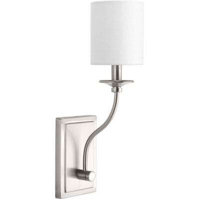 Bonita Collection 1-Light Brushed Nickel Wall Sconce with White Linen Shade