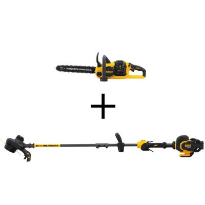 16 in. 60V MAX Cordless FLEXVOLT Brushless Chainsaw, (1)3.0Ah Battery & Charger w/Bonus String Grass Trimmer (Tool Only)