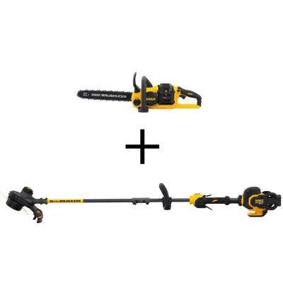 60-Volt MAX Lithium-Ion Cordless FLEXVOLT Brushless 16 in. Chainsaw with Bonus Bare 15 in. String Grass Trimmer