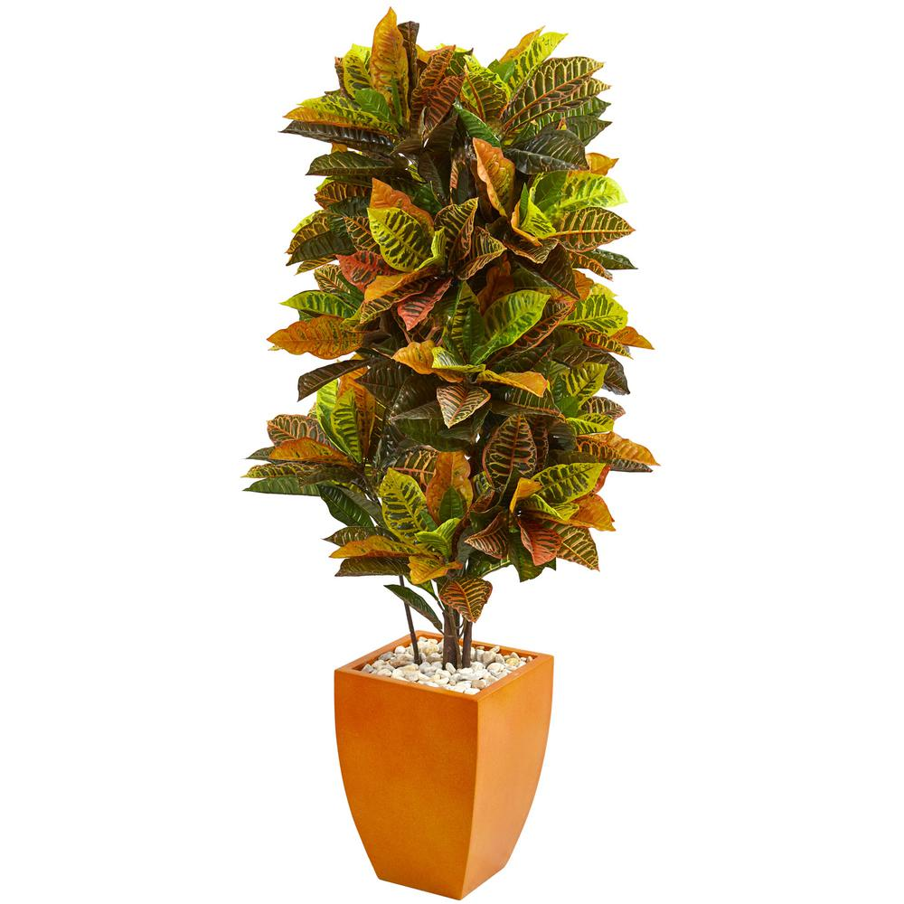 Nearly Natural Real Touch 5 Ft Indoor Croton Artificial Plant In Orange Planter 6455 The Home Depot