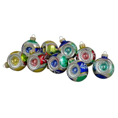 2.25 in. (60 mm) Multi-Color Retro Refle-Countor Shiny Glass Christmas Ball Ornament Set (9-Count)