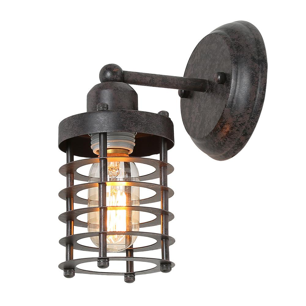 Lnc 1 light rust mini cage industrial wall lighting wall sconce