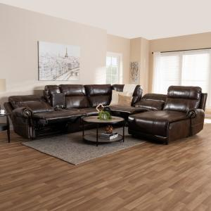 Pleasant Baxton Studio Dacio Brown Faux Leather Sectional 150 9117 Hd Alphanode Cool Chair Designs And Ideas Alphanodeonline