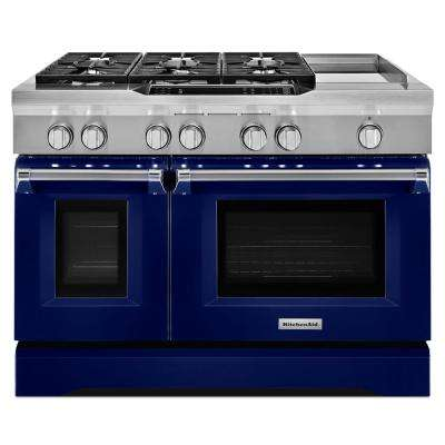 48 in. 6.3 cu. ft. Dual Fuel Range Double Oven with Convection Oven in Cobalt Blue