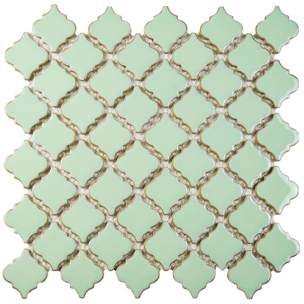 Hudson Tangier Light Green 12-3/8 in. x 12-1/2 in. x 5 mm Porcelain Mosaic Tile