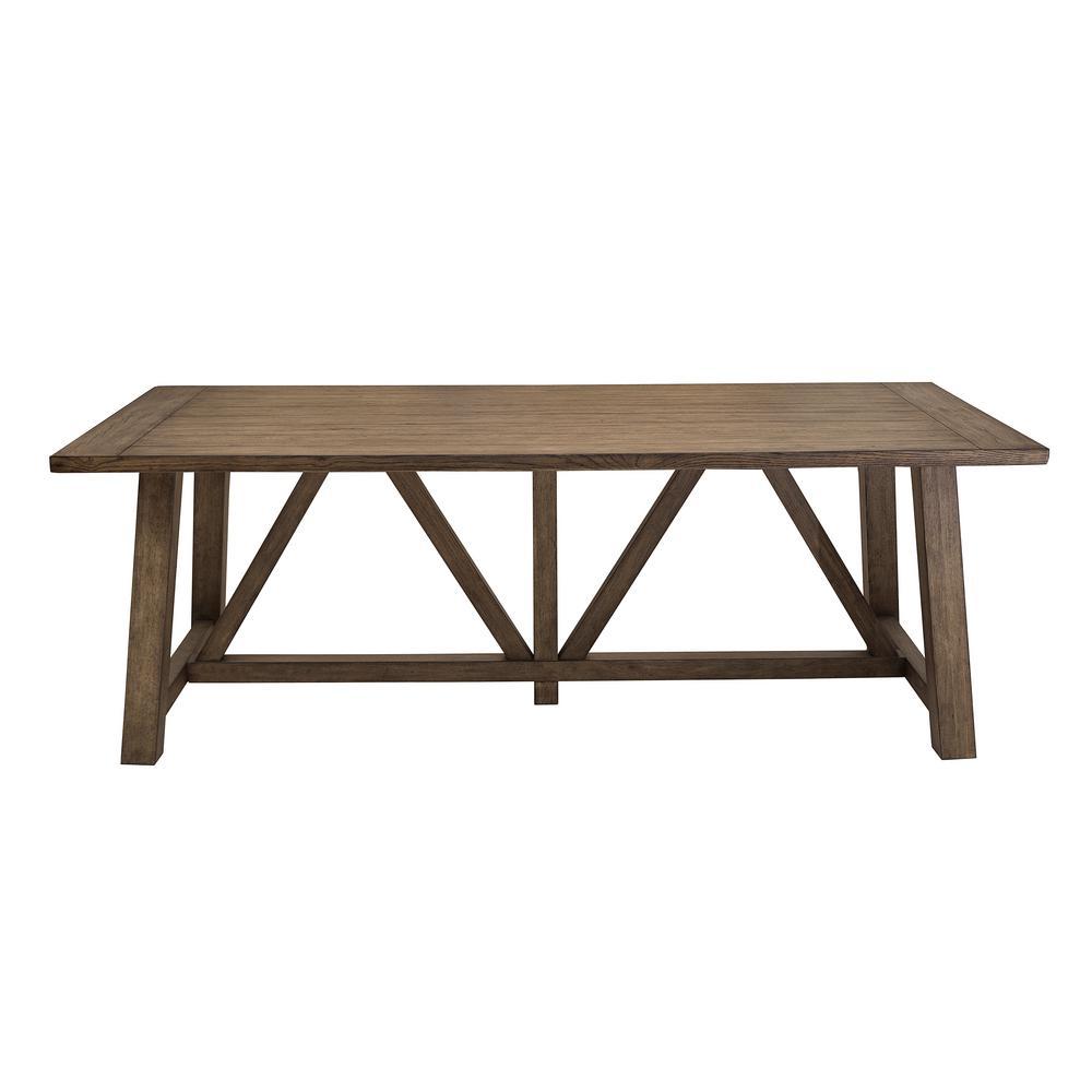 Light Oak Trestle Dining Table