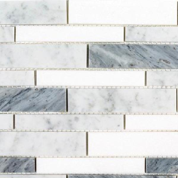 Jeffrey Court Lombard Fog 11 875 In X 11 75 In X 8mm Semi Polished Natural Stone Linear Mosaic Tile 95749 The Home Depot