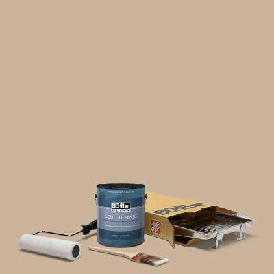 1 gal. #PPU4-07 Mushroom Bisque Extra Durable Satin Enamel Interior Paint and 5-Piece Wooster Set All-in-One Project Kit
