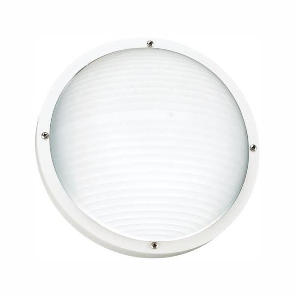 Bayside White 1-Light Outdoor 5 in. Bulkhead with LED Bulb