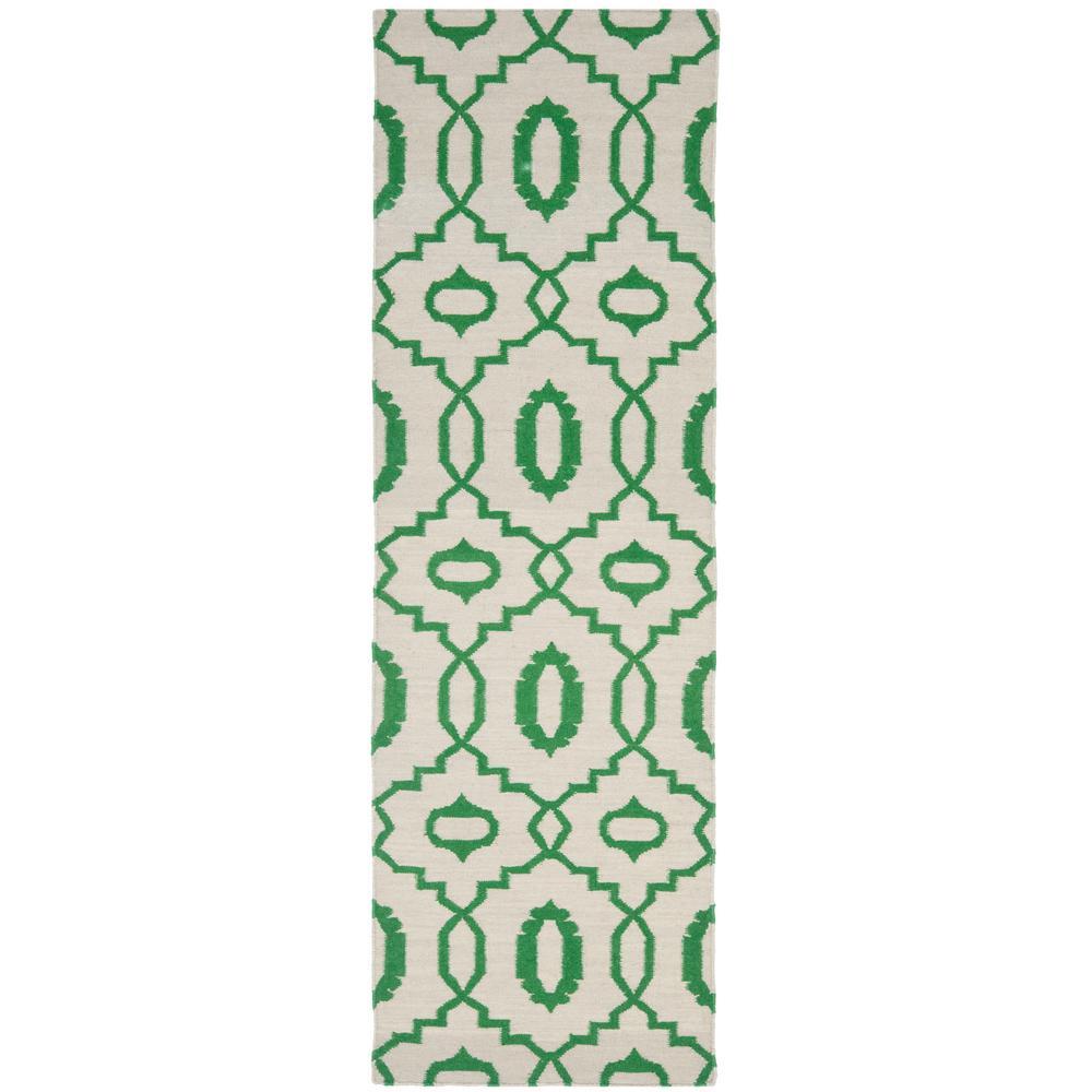 Dhurries Ivory/Green 2 ft. 6 in. x 10 ft. Runner