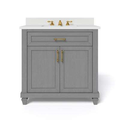 36 in. W x 34.5 in. H Bath Vanity in Antique Grey with Engineered Stone Vanity Top in White with White Basin
