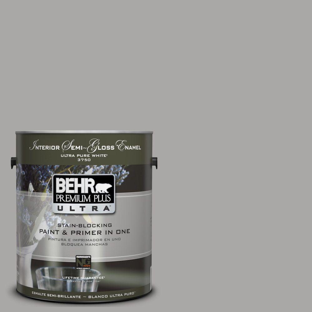 BEHR Premium Plus Ultra 1-gal. #UL260-7 Cathedral Gray Interior Semi-Gloss Enamel Paint