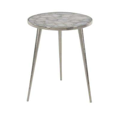 Gray Round Side Table with White Accents