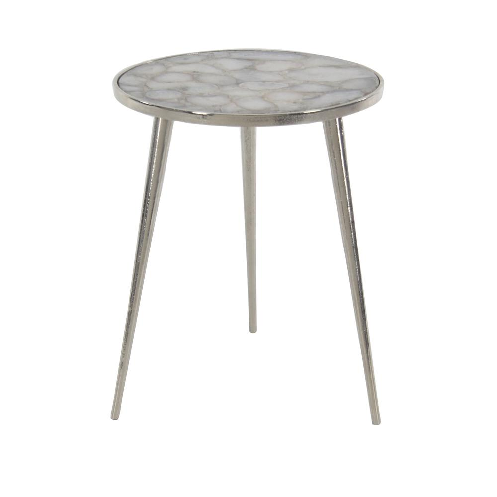 c3a4156779f Litton Lane Gray Round Side Table With White Accents 46720 The. Ida Grey  Aluminum ...
