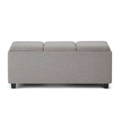 Avalon Cloud Grey Extra Large Storage Ottoman Bench with 3-Serving Trays