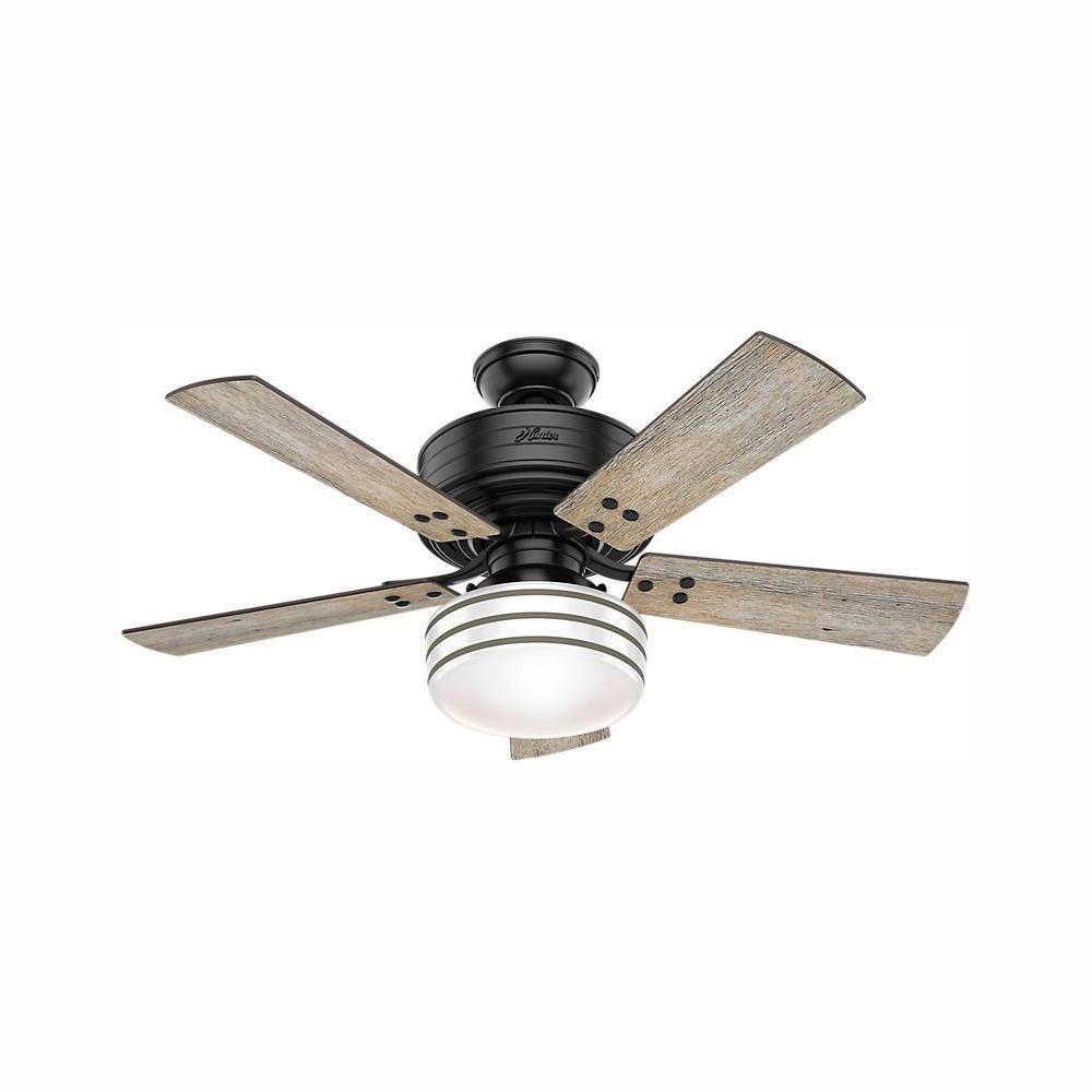 Hunter Cedar Key 44 In Indoor Outdoor Matte Black Ceiling Fan With Light Kit And Handheld Remote Control