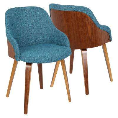 BacciTeal Fabric Dining/Accent Chair with Walnut Wood
