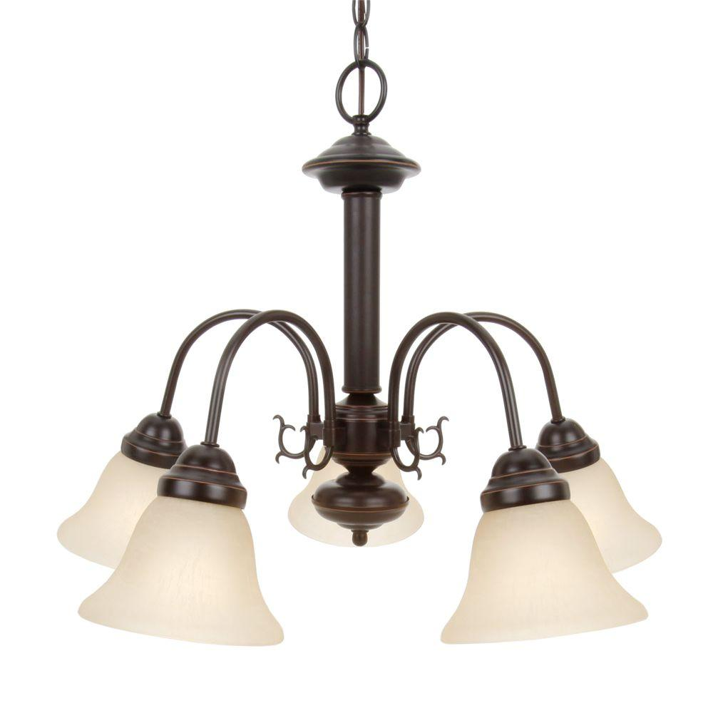Glomar 5-Light Mahogany Bronze Chandelier with Champagne Linen Washed Glass Shade