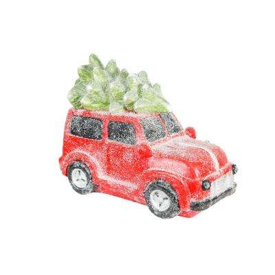 17 in. Retro Red Car with Christmas Tree and LED Lights