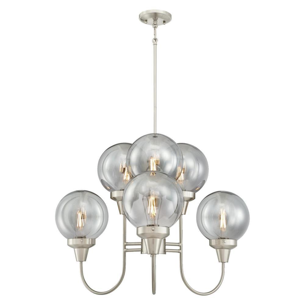 more photos 57565 b096f Westinghouse Byron 6-Light Brushed Nickel Chandelier with Smoke Grey Glass  Globes